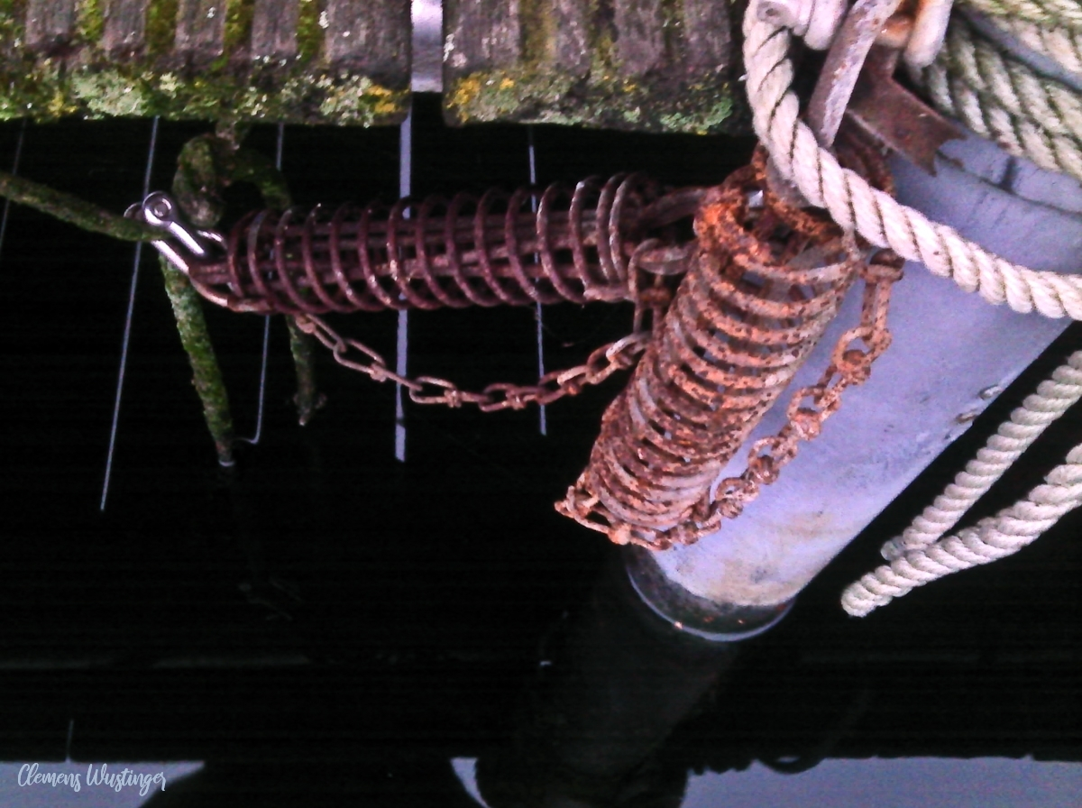 Rostige Ruckdämpfer-Federn am bemoosten Bootssteg